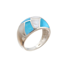 Mother-of-Pearl & Turquoise Hefty Ring. 925 Hypoallergenic Silver