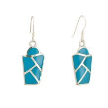 Turquoise Micro Mosaic Shield Earrings