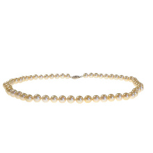 Champagne Pearl Strand: 7-7.5mm Diameter. 585 (14kt) White Gold Clasp