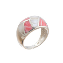 Mother-of-Pearl & Coral Hefty Ring. 925 Hypoallergenic Silver
