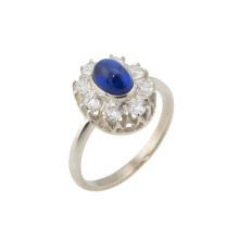 A Faux Sapphire CZ Halo Silver Ring