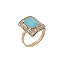 Baguette-cut Turquoise and CZ Ring