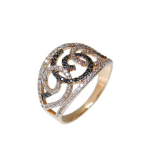 Black and White CZ Rose Gold Ring