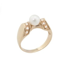 Pearl Diamond Rose Gold Ring