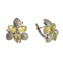 Floral Motif Citrine White Gold Earrings