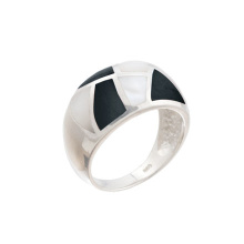 Mother-of-Pearl & Onyx Hefty Ring