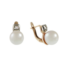 White Pearl & Diamond Leverback Earrings