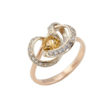 Genuine Citrine and CZ Twisted Ring