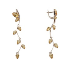 Citrine White Gold Dangle Earrings
