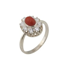 Mediterranean Coral with CZ Halo Silver Ring
