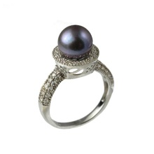 Edwardian Era Style Black Pearl Estate Ring