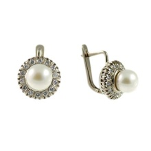 White Gold Pearl and Diamond Halo Earrings