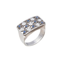 Faux Sapphire & CZ Cocktail Ring