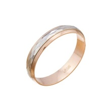 Diamond Cut Two-tone Gold Wedding Band