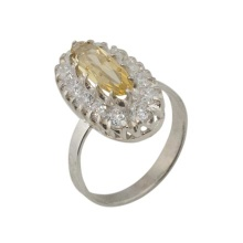 Russian Citrine and CZ Silver Ring