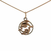 Twisted Wire Decor Pendant 'Pisces Zodiac'. (February 19-March 20)
