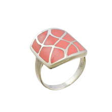 Coral Squared Shield Ring. Hypoallergenic 925 Silver