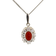 Coral with CZ Halo Silver Pendant