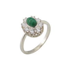 Malachite with CZ Halo Ring. 925 Hypoallergenic Silver