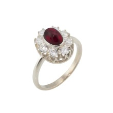 Garnet with CZ Halo Silver Ring