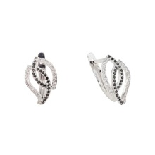 Black and White CZ White Gold Earrings