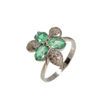 Floral Motif Faux Emerald White Gold Ring