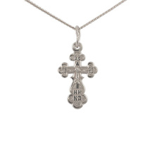 Orthodox Silver Trefoil Crucifix