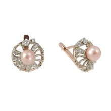 Pink Pearl and Diamond Spiral Earrings