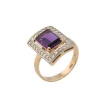 Russian Amethyst and CZ Cocktail Ring