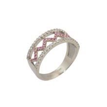 Pink Sapphire & Diamond Fashion Ring