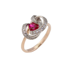 Faux Ruby and CZ Two-tone Gold Ring