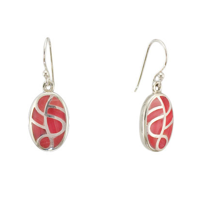 Smalti Filati coral silver earrings