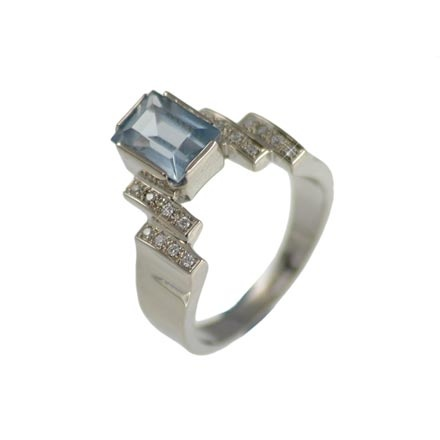 Blue Topaz and Diamond Stair Design Ring