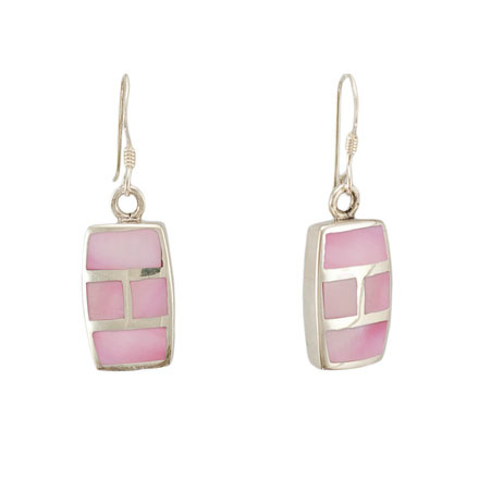 Micro mosaic pink mother-of-pearl earrings