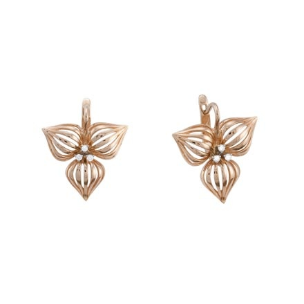 Lotus-motif Gold Earrings