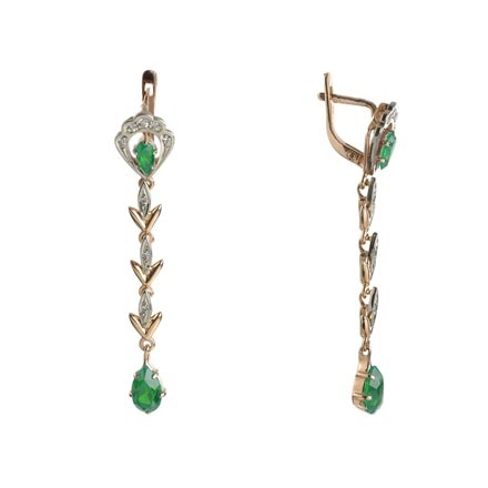 Rose gold dangle emerald earrings