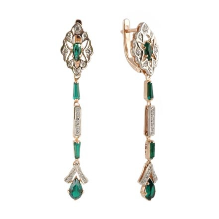 Faux Emerald and CZ Linear Earrings