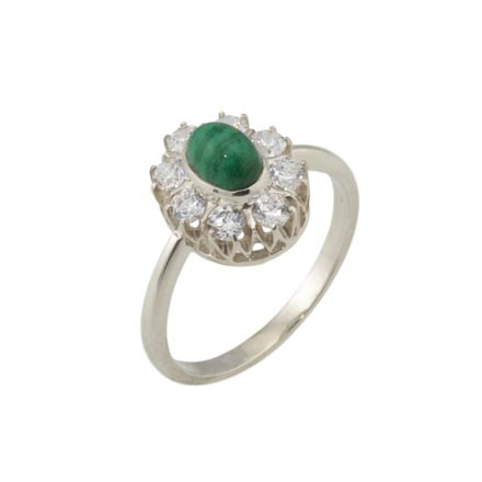 Malachite with CZ Halo Silver Ring