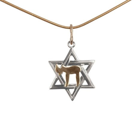 White gold Star of David with rose gold Chai symbol