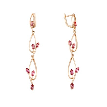 Dangle garnet long earrings
