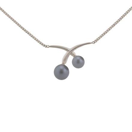 Grey pearl white gold necklace