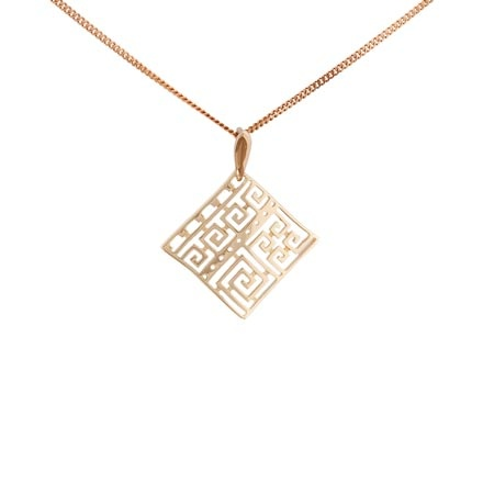 Greek Key Gold Pendant