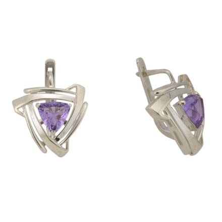 Trillion-cut Amethyst Silver Earrings
