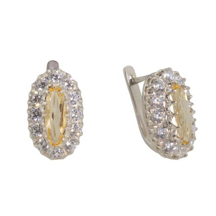 Vintage Style Citrine Silver Earrings