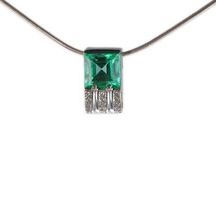 Faux Emerald and CZ Slide Pendant. Hypoallergenic 585 (14K) White Gold