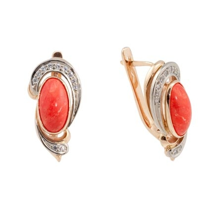 Coral Russian gold party earrings