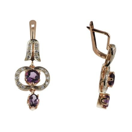 585° two-tone gold amethyst and diamonds earrings