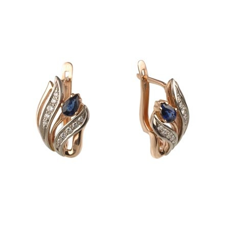 Gold Earrings with Lab Sapphires and CZ