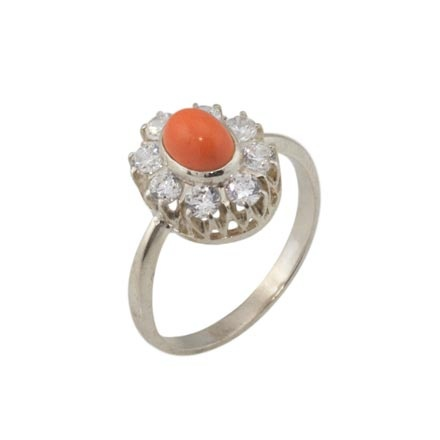 Tasman Sea Coral with CZ Halo Silver Ring. 925 Hypoallergenic Silver