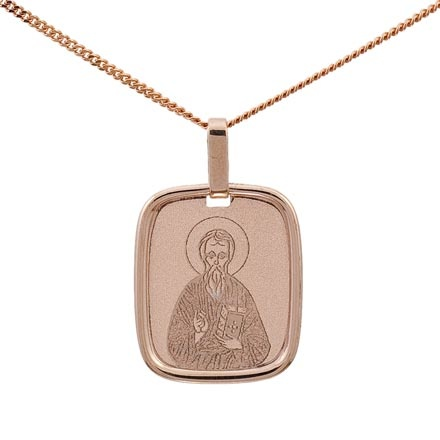 Icon Pendant 'The Holy Apostle Andrew'. 585 (14kt) Rose Gold